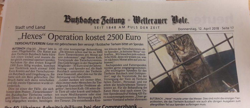 Heute in der Butzbacher Zeitung – Unsere Spendemöglichkeiten
